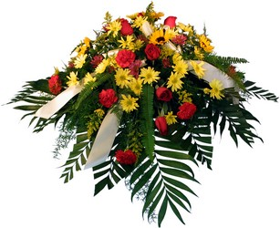 Warming Thoughts Casket Spray from Verzaal's Florist & Events in Wilmington